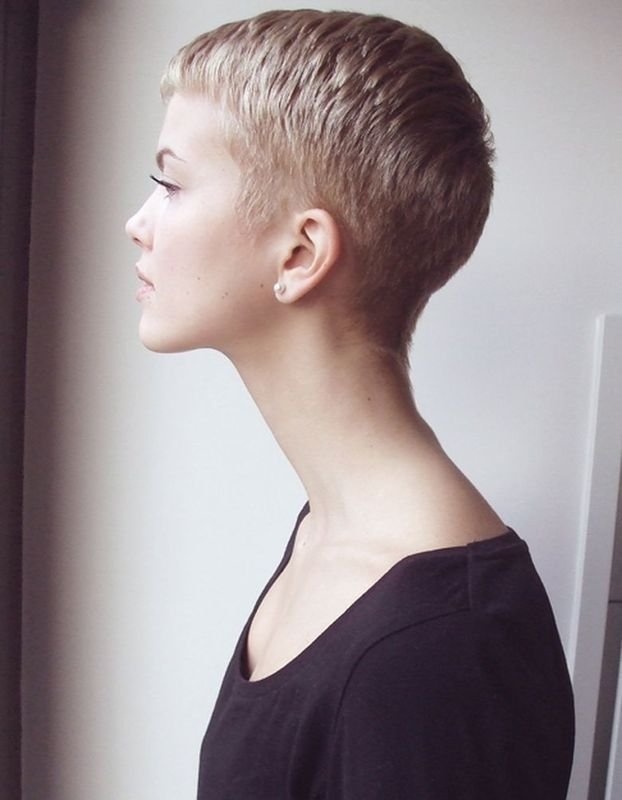 perfect! short around the ear and nape of neck, short bangs but not too short on top.