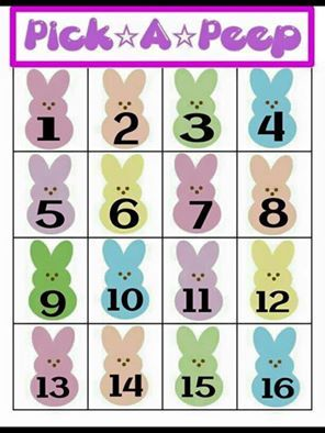 "Pick a Peep!  We will play this game until 4:00 on 3/31. grin emoticon You pick a peep, comment below with your number of choice.  I will message you what your deal is. One peep per person. **All deals expire on 3/31 at 5 p.m. Parties, if applicable, must be held on or before 4/15.  Deals must be paid for via Paypal using the ""Send Money to Friends"" option, or cash, BEFORE 5 p.m. on 3/31.  The DEAL cannot be combined with any other offers."