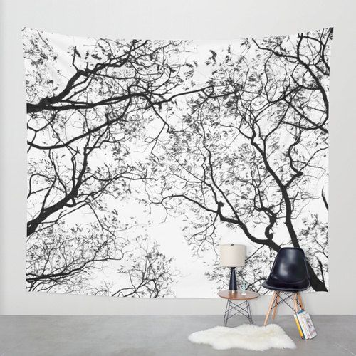 Nature Tapestry  Tree Tapestry  Black and White  by CallaAndClover