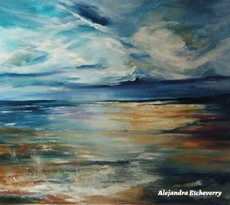 Título: Nubes y mar - Acrílico sobre madera (80x70cm) -' Autora: Alejandra Etcheverry