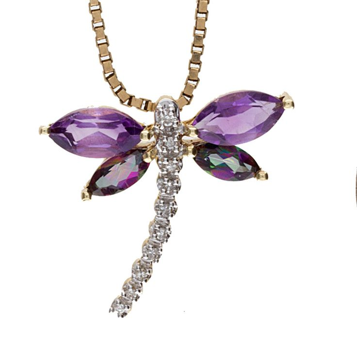 Cute 10K yellow gold dragonfly pendant set with 2 amethyst stones & 2 mystic topaz stones. Also set are 10 sparkling diamonds! Well made with a nice weight and a bright polish finish. This would be the perfect addition to any outfit!
