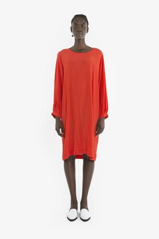 BLANCHE DRESS from Obus Spring17 | A long-sleeve vintage-style pullover dress made from scarlet red viscose.