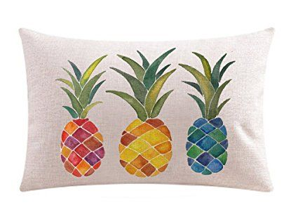 Ink Painting Fresh Color Fruit Pineapples Cotton Linen Throw Waist Lumbar Pillow Case Cushion Cover Home Office Decorative Rectangle 12 X 20 Inches