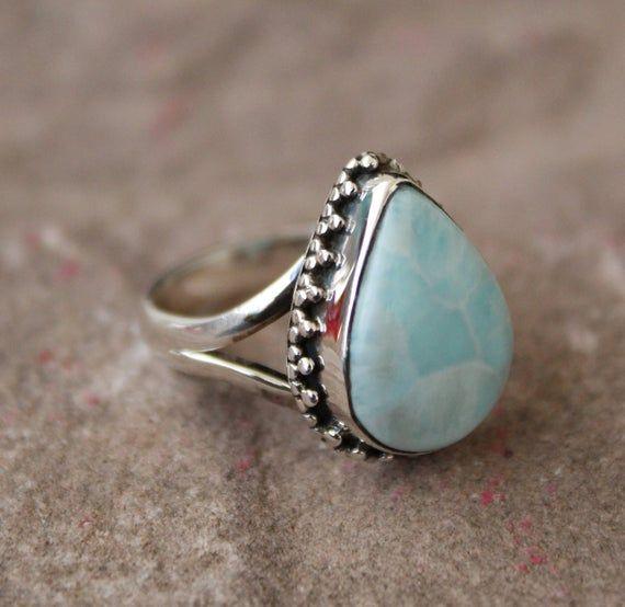 Natural Larimar Ring Larimar Ring Larimar Jewelry Silver Etsy Gemstone Rings Jewelry Diamond Wedding Bands