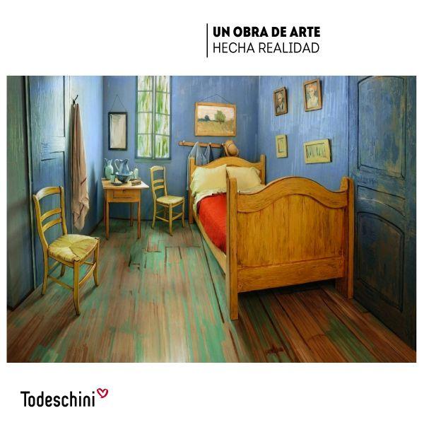 La paredes azules, sillas amarillas y el suelo pintado resultan familiares. Es una réplica inspirada en el cuadro de Vicent Van Gogh, ubicada en Chicago y disponible para alquiler, aunque encontrar una reserva disponible no es una tarea fácil.  #Diseñodeinteriores #Decoración #Todeschini #ambientes #mueblesamedida #arquitectura  #arte