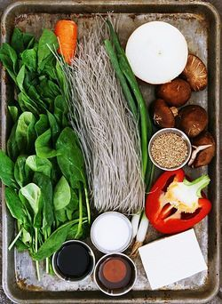 Ingredients for Jap Chae (Korean Glass Noodle Stir-Fry) - all I ever want in life.