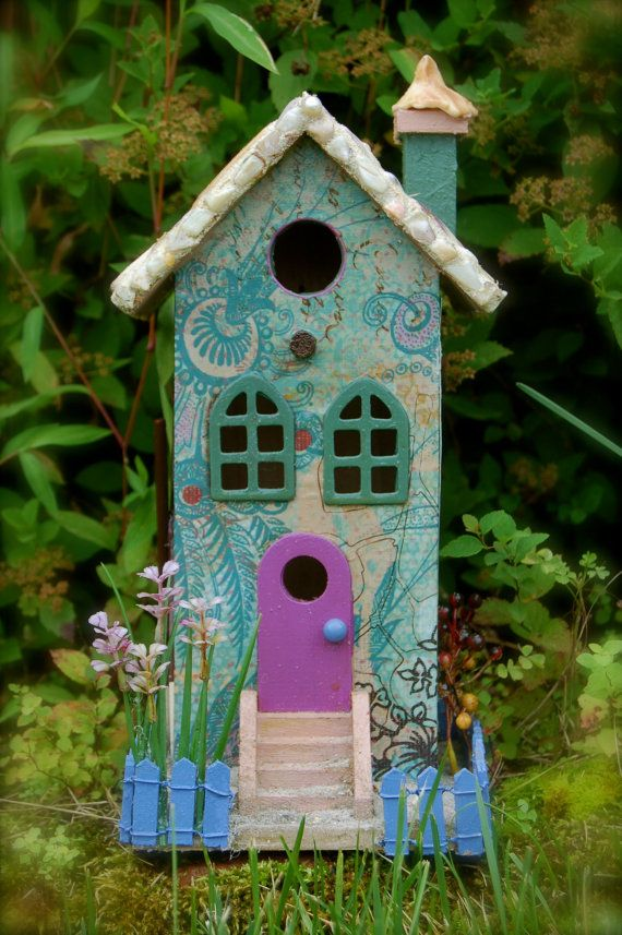 Birdhouse Beach Style with Sea Pebble Roof by incogknito on Etsy