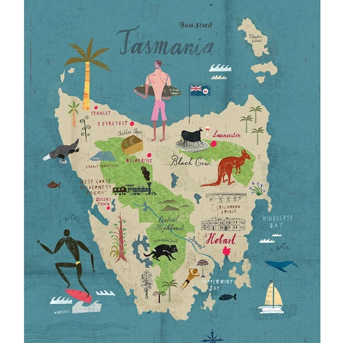 Tasmania Map, Australia we should go this place I heard its quite nice.