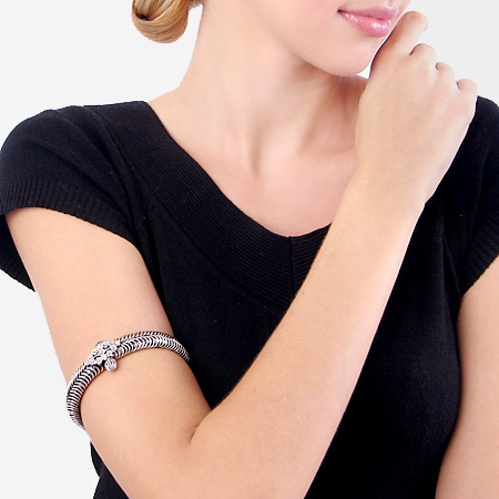 Gorgeous, Intricate, Antique Indian Tribal Clasp Armlet in Handcarved Silver from JeGem.com