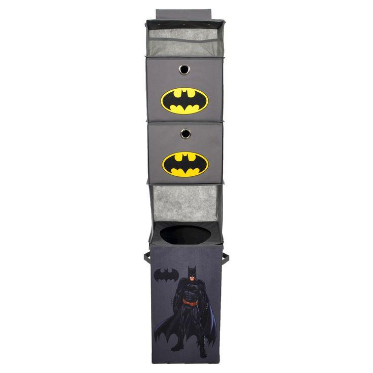 Batman Closet Hanging Organizer with Storage Bins - Gray