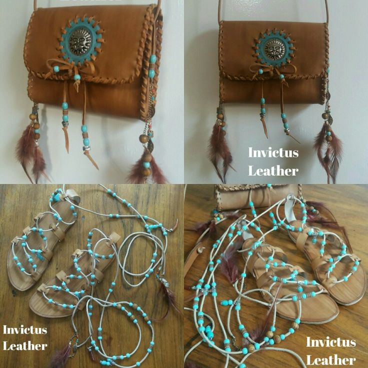 Custom designed Leather Boho Bag & Sandals. www.facebook.com/Invictusleather