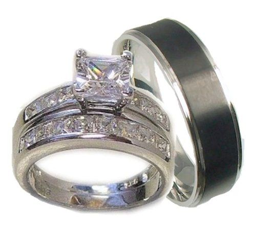 His Her 3 Piece Wedding Ring Set White Gold Ep Sterling Silver And Stainless Steel Womens 4 5 6 7 8 9 10 11 12 Please Email Us The Sizes That You