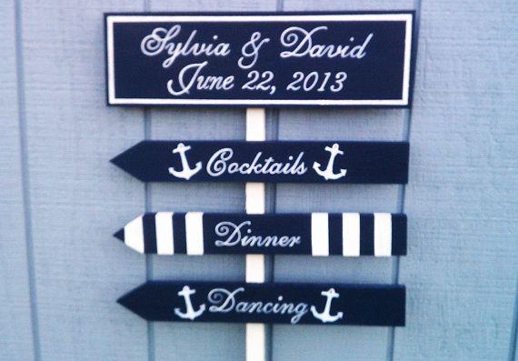 Nautical Wedding Signs ANCHOR STRIPES STARFISH by RomanticPlanet, $75.95