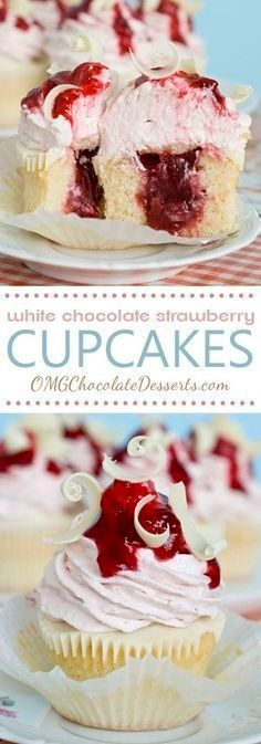 White Chocolate Strawberry Cupcakes ~ Vanilla cupcakes with strawberry filling, topped with a layer of melted white chocolate and strawberry-white chocolate cream cheese frosting... absolutely delicious for Valentine's Day!
