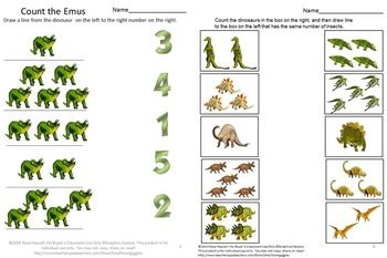 Dinosaurs have always been a fascination for children. The Dinosaur graphics used in this packet, Counting Skills With Dinosaurs, consists of 24 pages and provides various worksheets to help students develop strong Math skills. Some have the student drawing lines to the right answer, circling the right answer on others and cut and paste on some. All provide the practice the student needs to sharpen their Math skills.