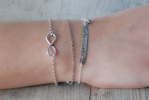Personalized Sterling Silver Bracelet Engraved by PiscesAndFishes