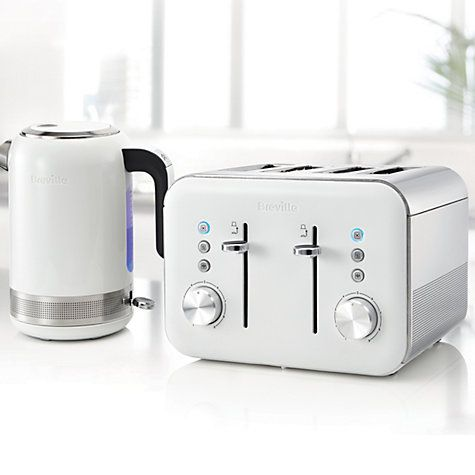Breville White VTT687 High Gloss 4-Slice Toaster & Kettle