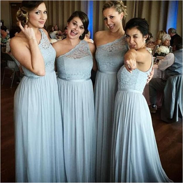 2016 Long Dusty Blue Bridesmaid Dresses with Sweetheart Sheer One Shoulder Pleated Skirt for Bridal Party Wear Sale Boho Maid of Honor Gowns