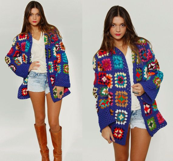 Vintage 1970s GRANNY SQUARE Crochet Sweater Multi Color Hand Knit Free Size Jacket