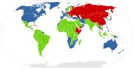 Wereldkaart Koude Oorlog in de jaren zeventig ██Kapitalistische blok. ██Communistische blok. ██Neutrale landen.