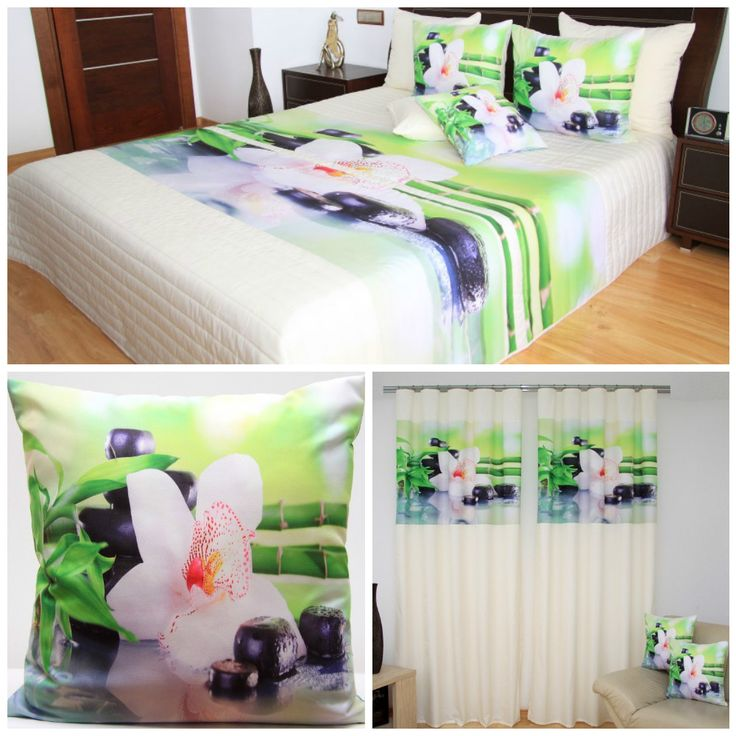 Bielo-zelená sada do spálne s kvetom bielej farby a bambusom