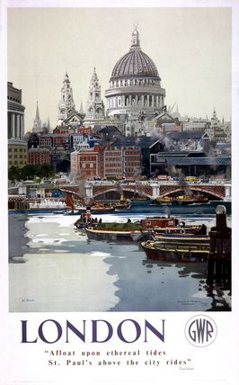 #London! Vintage UK Railway Poster ~ http://VIPsAccess.com/luxury-hotels-london.html