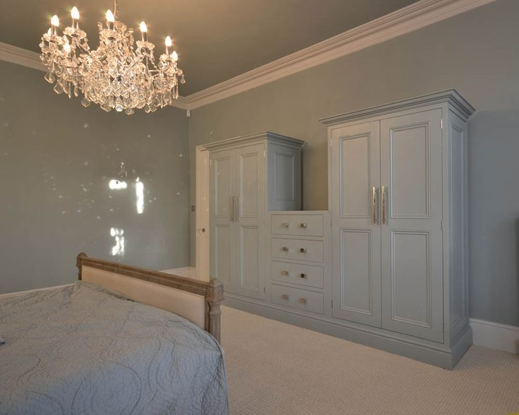 bedroom wardrobe bespoke hand painted Zoffany Stockholm blue wardrobes in London storage solutions