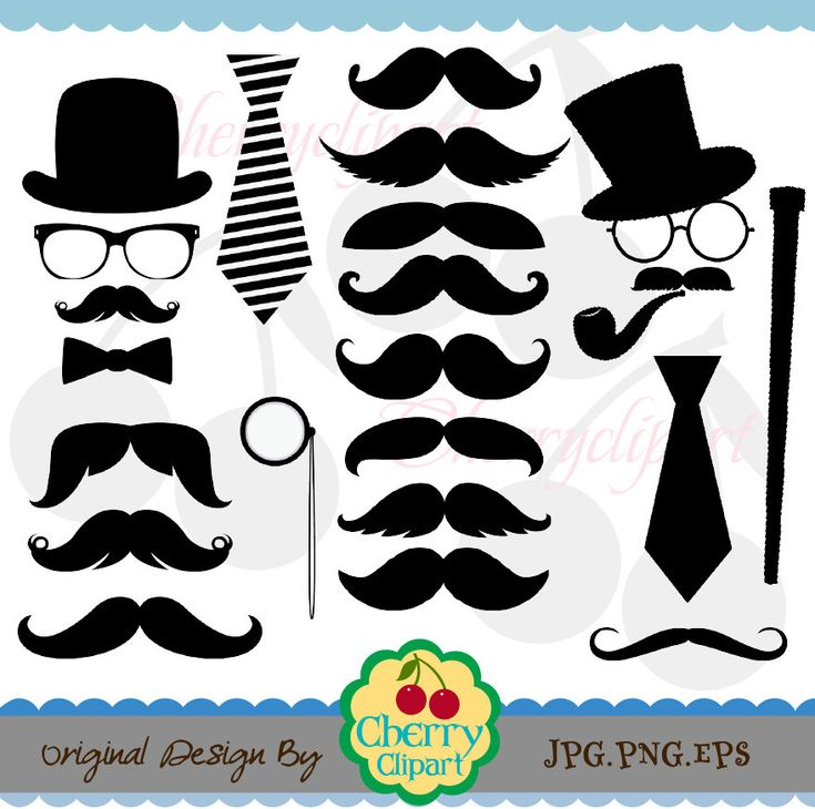 Mustache Party Digital Clipart Set -Personal and Commercial Use-paper crafts,card making,scrapbooking,web design. $3.90, via Etsy.