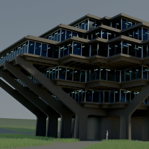 Geisel Library  Fully customizable 3D model of a building
