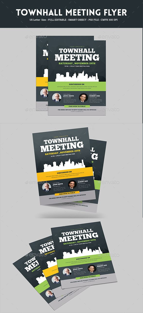 Town Hall Meeting Flyer Template PSD, AI