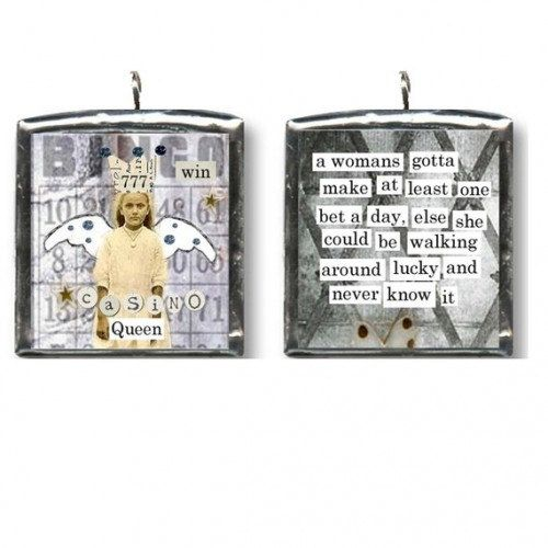 Casino slot queen fairy. altered art charm by LeAlteredMuse, $5.00
