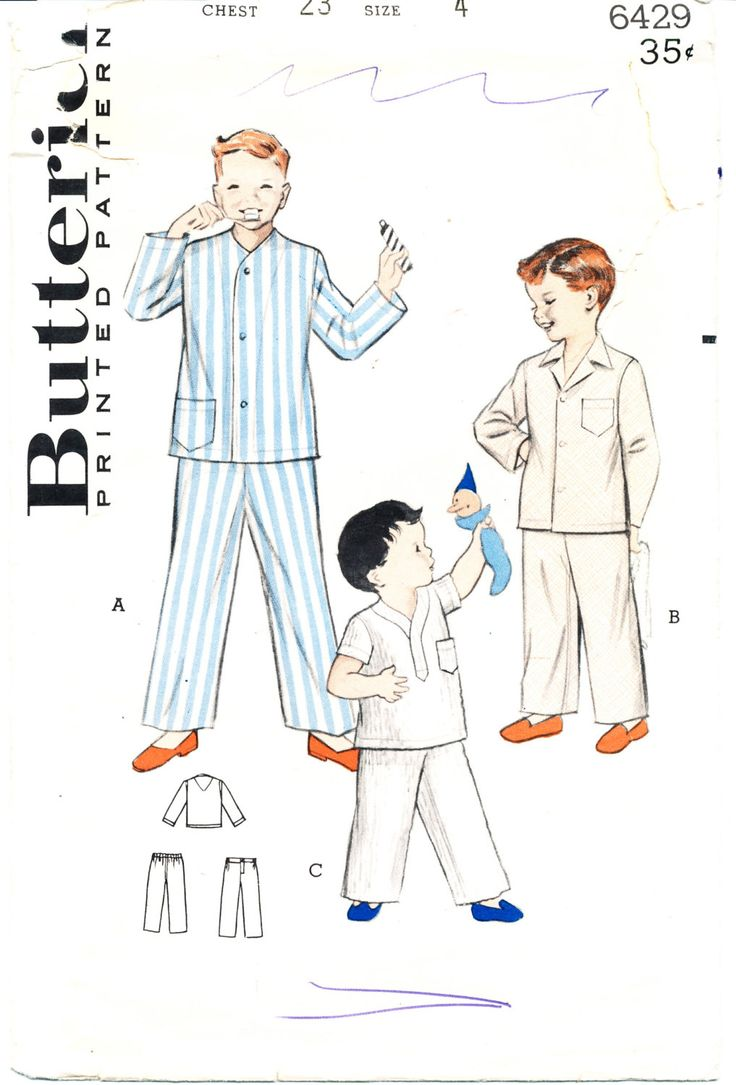 Butterick 6429, circa 1960, Boys' pajamas, size 4, chest 23 by MySewingChest on Etsy
