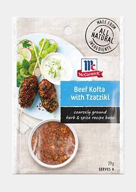Beef kofta with tatziki