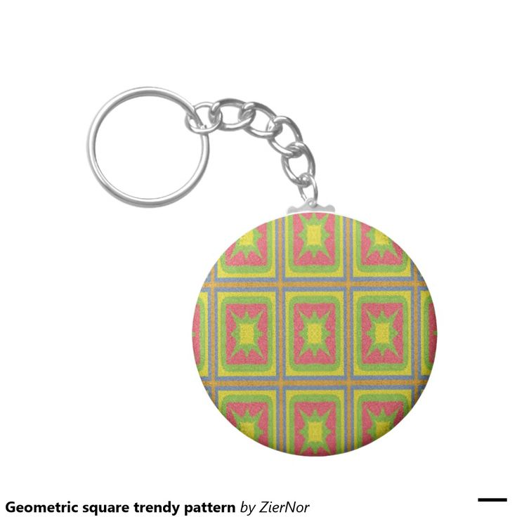 Geometric square trendy pattern basic round button keychain
