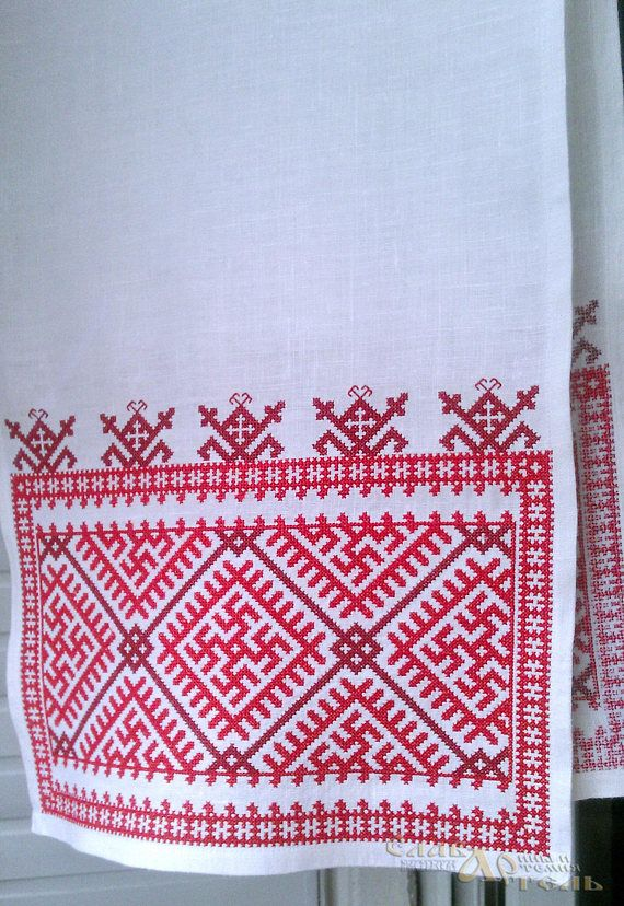 Cross-stitch embroidery, pattern from the Vologda region, the middle of the 19th century. Kharovsky district, reconstruction, Great Russian pattern, Russian north.