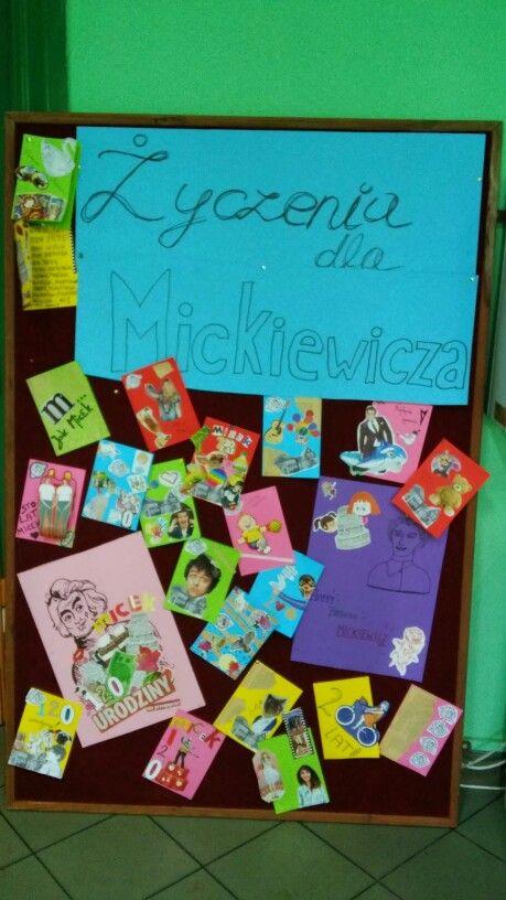 Życzenia dla Mickiewicza  kartki urodzinowe wykonane przez uczniów 30 kwiecień 2015