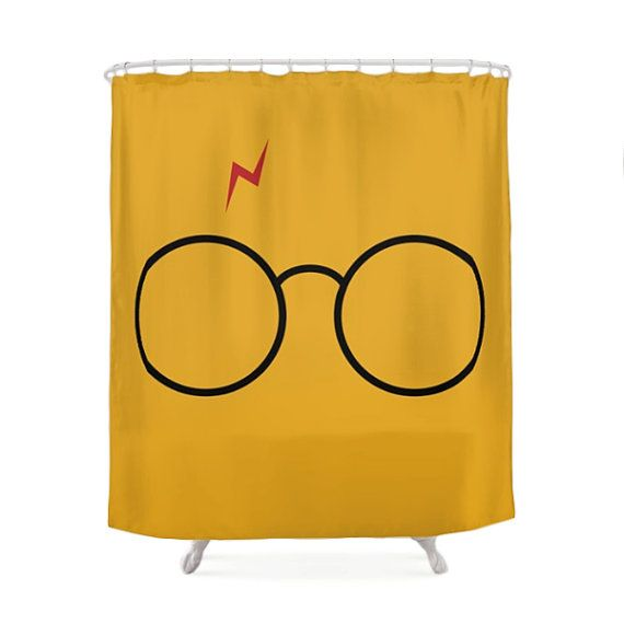 Harry Potter Shower Curtain, Children Bathroom, Geek Bath, Funny Curtains, Yellow Decorations, Christmas Gift, Fantasy, Glasses, Nerd Design