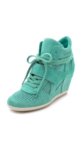 turquoise Ash Bowie Wedge Sneakers with Mesh Insets-$220