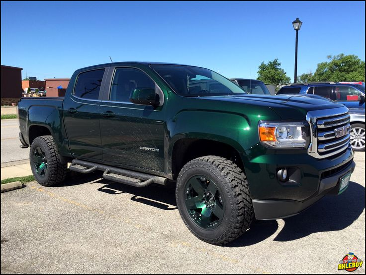 2016 GMC Canyon with a leveling kit, ST Maxx tires and custom green powder coated wheels. ______________________________________________________ #Axleboy #offroad #truck #green #GMC #custom #mechanic #oneofakind #built #stl #stpeters #missouri