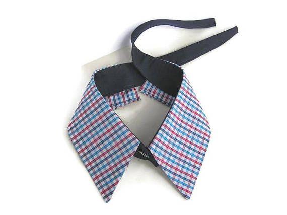 Detachable shirt collar Checked plaid bandana choker Women