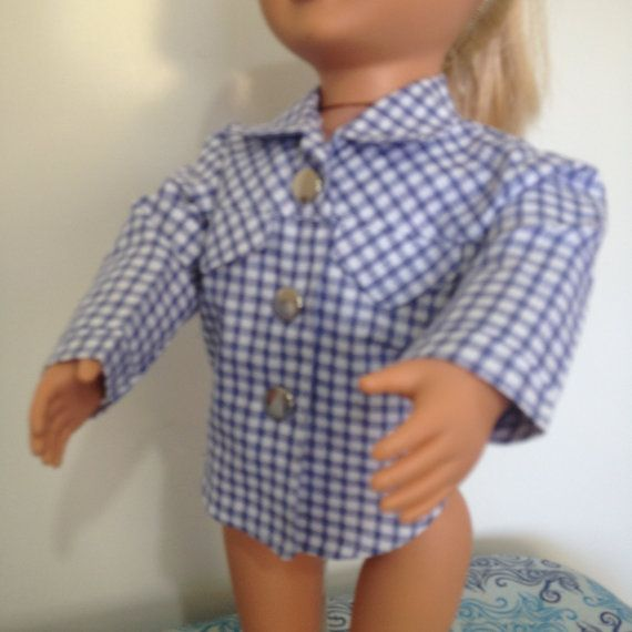 Gingham check shirt for 18in boy dolls by TangledKat on Etsy