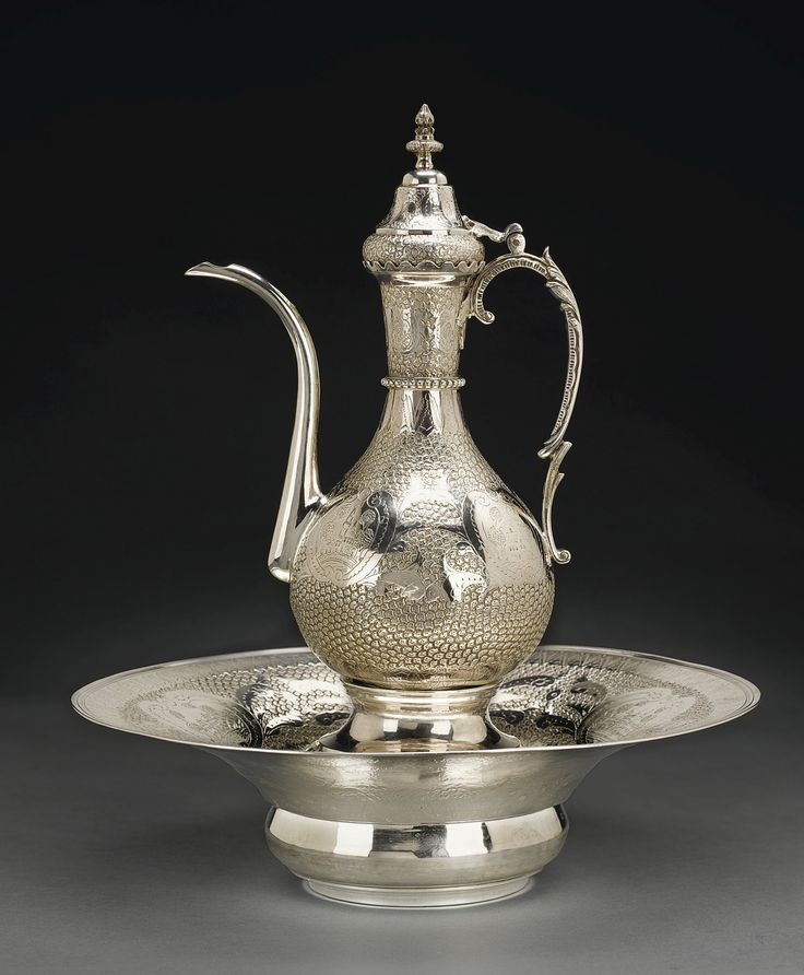 AN OTTOMAN SILVER EWER AND BASIN WITH FILTER, STAMPED WITH TUGHRA OF SULTAN ABDULHAMID II | Flickr - Photo Sharing!