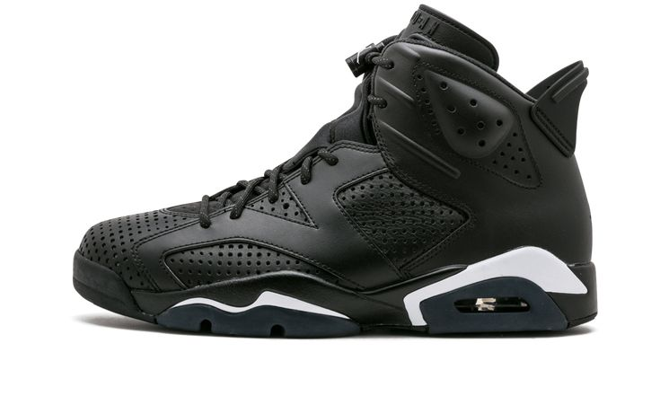 The all-black Jordan 6 features a leather upper with both solid paneling and perforated panels for a unique look. Air Jordan's patented lace closures are back as well as the classic Jumpman logo on the sole. Air Jordan 6 Retro SKU: 384664 020 Color: Black