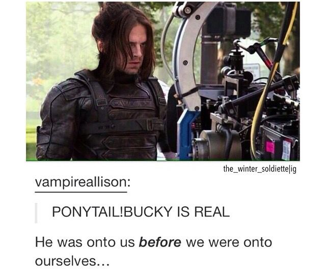 Yes, this is an edit, but he looks amazing in a ponytail, like Marvel needs to get on this ASAP. I hope they keep his hair long too for the next films. To me, the short hair no longer suits the character... Unless he becomes Captain America, and there I think short hair would make sense again.