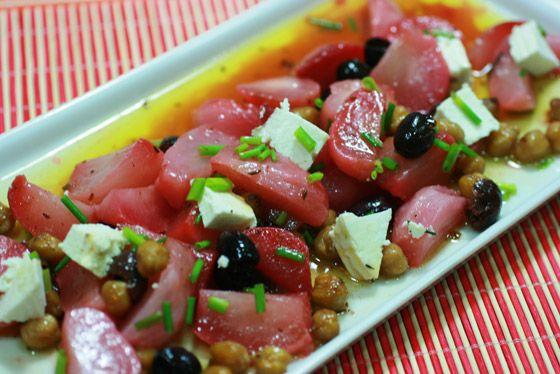 Salada de beterraba assada e grao