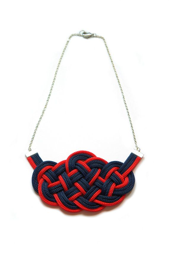 €18.00 Sailor Knot Necklace,Red and Blue,Marine Style,Nautical,Knotted,Braided,Cord Necklace