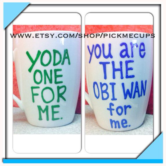 Starwars Fans Love Mugs - Yoda one for me - You are the obi wan for me - valentines day anniversary best friend mug on Etsy, $18.00