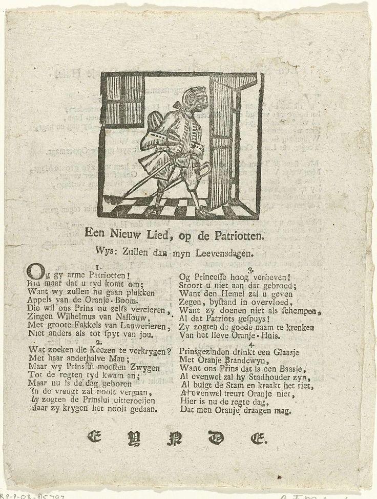 Anonymous | Vier spotliederen op de patriotten, 1787, Anonymous, 1787 | Blad met vier spotlieden op de patriotten, ca. 1787. Dubbelgevouwen blad met op de voorzijde een eenvoudige voorstelling van een man staande bij de deur. Het laatste lied bespot de beëdiging van het nieuwe regeringsreglement in een tempel opgericht op de Grote Markt te Haarlem, 5 september 1787.