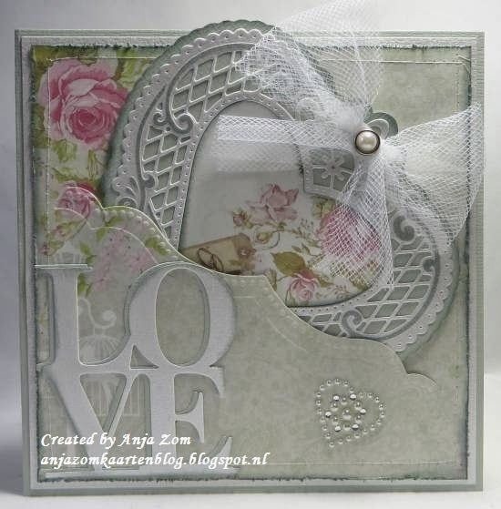 Lovely card made by Anja Zom with Creatables LR0299 Anja's Filigran Heart, LR0300 Anja's Border and LR0301 Love by Marianne Design