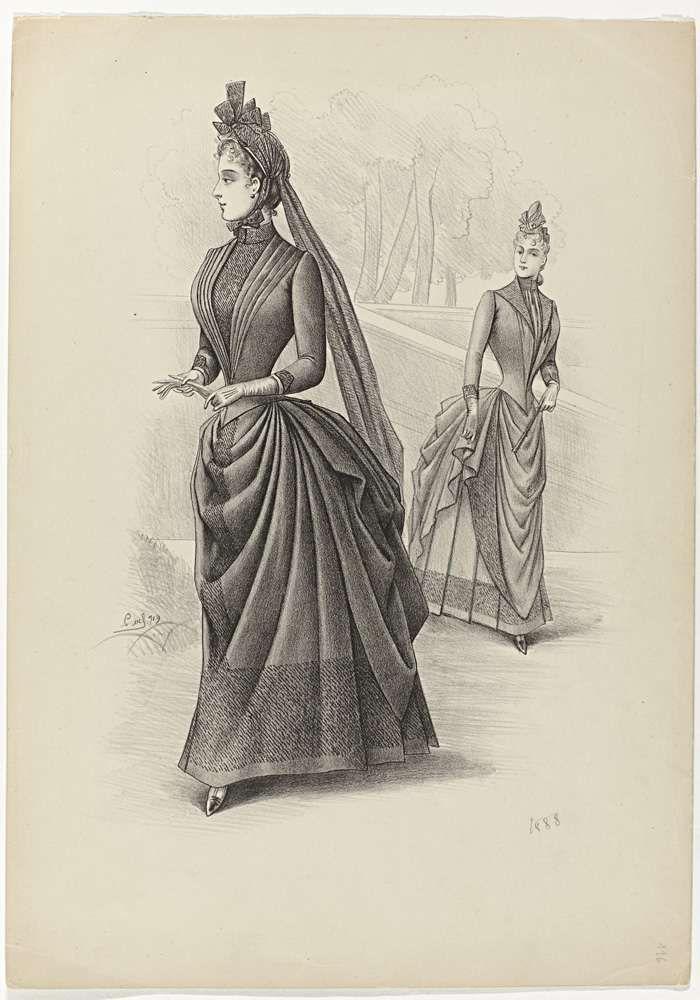 Two walking ladies, 1888, No. 719, Louvel